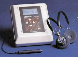 Audiometer used to preform and collect hearing test data.
